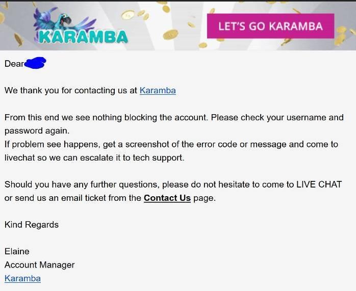 Karamba email support - OCCanada